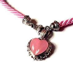 """Judith Ripka Pink Heart Enhancer Cord Necklace Pink Cord Necklace Is 18"""" Long / Heart Clasp / Pink Jade Heart Pendant-Enhancer is 1 1/8"""" Long X 3/4"""" Wide / Snap Bail Judith Ripka Jewelry Necklaces"""
