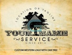Premade Custom Logo Western Oak Tree Business Creative Design Service Photography Ranch Vintage