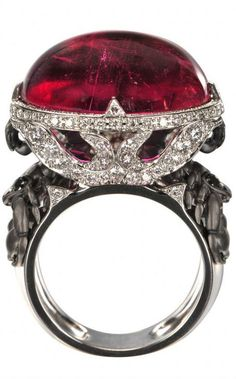 Trendy Diamond Rings : white gold, diamonds and pink tourmaline ring by Magerit. - Buy Me Diamond Red Jewelry, Simple Jewelry, Bling Jewelry, Jewelry Art, Jewelry Accessories, Fashion Jewelry, Jewelry Design, Jewlery, Fashion Rings