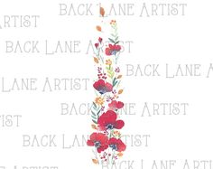 Floral Banner Flowers Frame Wedding invitation Watercolor Drawing Clipart Illustration Instant Download PNG JPG DigiArt Image Drawing Ld75 by BackLaneArtist on Etsy
