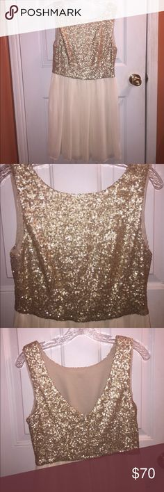 Gold sequin dress Never worn. Perfect for a homecoming or prom. Size 11/12 B. Darlin Dresses Prom