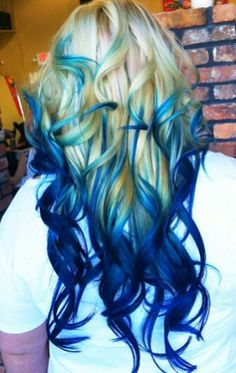 Blonde and blue ombre dyed hair