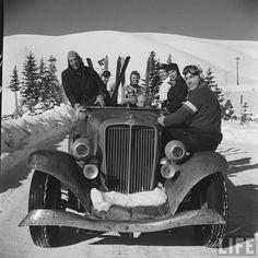 Circa 1950s– Sun Valley, Idaho ski bums in their old snow slopes beater
