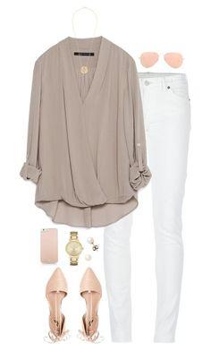 Jeans blancos blusa caqui