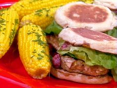Cranberry Bog Turkey Burgers, served with Corn on the Cob with Chive Butter Recipe : Rachael Ray : Food Network - FoodNetwork.com