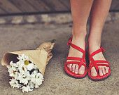 Two Strap Sandals, Genuine Leather, Red Sandals