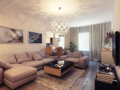 White Scheme Color Ideas for Living Room Decorating with Floating Style Wood Table on the Soft Carpet that have Black Glass Rectangle Shaped Countertop also Ball Shaped Pendant Lamp also Modular Gray L Shaped Sofa Furniture