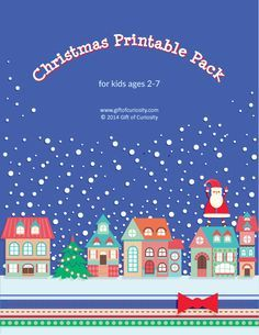 Free Christmas Printable Pack for kids ages 2-7 with 70+ activities covering a range of skills.  These free Chrismtas printables will keep your kids busy and entertained this holiday season. Check out the HUGE variety of activities included within!! || Gift of Curiosity
