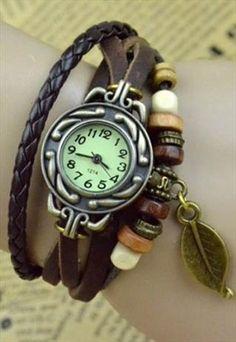 Creative retro  Boutique leaves bracelet watch
