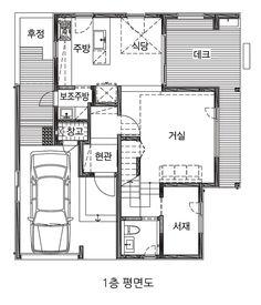 [BY 전원주택라이프] 고운숲은 단순함 속에서 입체감이 들도록 입면을 디자인했다. 동서남북의 외벽과 ... House Plans, Floor Plans, House Design, Flooring, How To Plan, Architecture, Home, Arquitetura, Ad Home