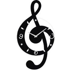 Ashton Sutton Musical Clef Wall Clock, Wooden and Glass $37.58