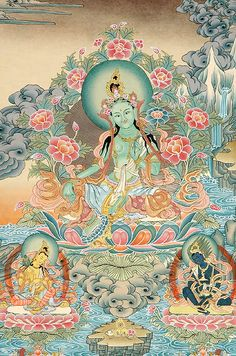 Om Tare Tuttare Ture Soha Tara mantra - Tara is a female Bodhisattva who vows to protect beings and help them to eliminate dangers and obstacles Buddha Kunst, Buddha Art, Tibetan Art, Tibetan Buddhism, Buddha Buddhism, Tara Goddess, Vajrayana Buddhism, Buddhist Practices, Thangka Painting