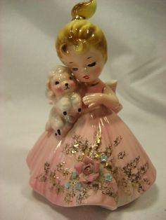 Vintage Josef Originals Girl in Pink dress with puppy