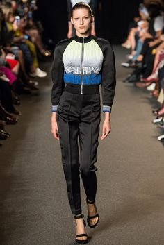 Alexander Wang | Spring 2015 Ready-to-Wear | 35 Black/blue/white printed bomber jacket and black trousers