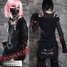 I like her face mask and hair. I'd like to get a mask like that second hand or made from recycled material. As far as the hair goes, I learned my lesson when I bleached mine once before, but it's cute on her. Black Long Sleeve Emo Punk Gothic Vampire Clothing Shirt Top SKU-11409016