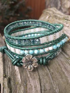 Beaded Leather Wrap Bracelet. Teal, White and Silver
