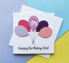14th birthday card Balloon birthday card ANY AGE 13th | Etsy Happy Birthday Godson, 16th Birthday Card, Special Birthday, Handmade Birthday Cards, Happy Birthday Cards, Greeting Cards Handmade, 30th, 21st, Pun Card
