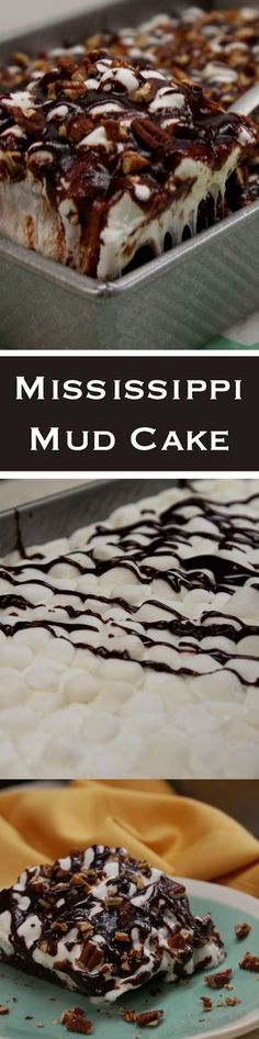 This Mississippi Mud Cake is easy to make and it's rich, gooey fun to eat. Just Desserts, Delicious Desserts, Yummy Food, Mississippi Mud Cake, Cake Recipes, Dessert Recipes, Sweet Bread, Let Them Eat Cake, Yummy Cakes