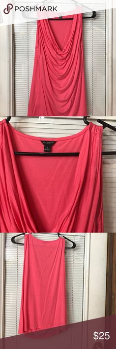 Beautiful very sexy coral Ann Taylor tunic Beautiful very sexy coral Ann Taylor tunic length beautiful flow perfect with leggings Ann Taylor Tops Blouses