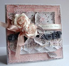 From Dorota Kopec in Stalowa Wola, Podkarpackie, southeastern Poland. Card Making Inspiration, Making Ideas, Wedding Invitation Cards, Wedding Cards, Lemon Crafts, Motif Vintage, Vintage Pins, Pot A Crayon, Shabby Chic Cards