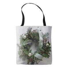 Green Christmas wreath Tote Bag - holidays diy custom design cyo holiday family