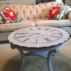 Clock stenciled on coffee table by Quite Contrary Furnishings....find me on FB!