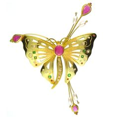 Evangelatos Grand Butterfly Pin,18k Gold, Emeralds, Sapphires, Rubies and Diamonds. http://www.athenas-treasures.com/products/Evangelatos-Grand-Butterfly-Pin.html. - Athena's Treasures, www.athenas-treasures.com
