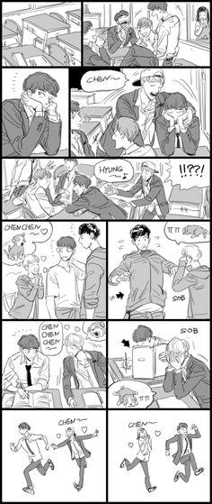 This is typically BaekChen of 2013 Baekhyun Fanart, Fanart Bts, Chanyeol, Kpop Exo, Exo Anime, Kawaii Potato, Exo Fan Art, Xiuchen, Kpop Drawings