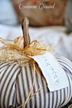 Ticking Pumpkin Idea / Common Ground: Buggy Wheel Door Decor and more. Velvet Pumpkins, Fabric Pumpkins, Fall Pumpkins, Pumpkin Crafts, Fall Crafts, Holiday Crafts, Autumn Decorating, Pumpkin Decorating, Decorating Ideas