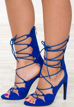 Can't Even Lace Up Heels - Blue