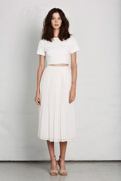 pleated skirt + cropped top + white