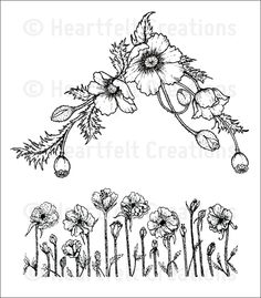 Poppy Corner and Border Cling Stamp Set: click to enlarge