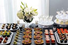 Learn how to set up a buffet table / food station for parties, weddings, or entertaining at home—with food presentation, display, and styling tips by a professional party planner. Party Food Buffet, Appetizer Buffet, Appetizers Table, Party Food Themes, Casino Party Foods, Appetizers For Party, Appetizer Table Display, Simple Appetizers, Party Ideas