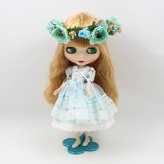 12 inch Cute DIY Nude doll Blyth bjd 1/6 b female golden long hair with bangs big eyes doll modified bjd dolls for sale