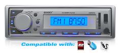 Enrock EKMR20SL Aqua Series Marine In-Dash Receiver with AM/FM Radio and AUX Input for iPod/MP3 Players and SD/USB Flash Readers (Silver). AM/FM MPX PLL Tuning USB Slot & SD Card Port for MP3/WMA Music Files Playback Volume, Balance, Balance, Bass, Treble & Fader Control. And it comes with everything you've come to expect from a modern head unit, including loudness/EQ settings, 30 radio station memory, ISO connector, ID3 tag compatibility and more The LCD screen is backlit in a...