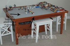 LEGO table - before you glue base plate, be sure to place Legos onto the bases where they connect to one another. If you glue them with the plates right next to one another, the legos will not connect to the base around the edges of each separate place correctly.