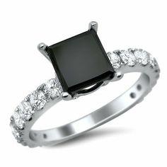 2.65ct Black Princess Cut Diamond Engagement Ring 18k White Gold Front Jewelers. $1795.00