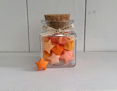 Square Jar of Orange Origami Stars by oddsNevens on Etsy