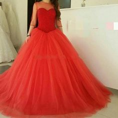 >> Click to Buy << Ball Gown Wedding Dresses Long With Half Sleeve Sheer Scoop Beading Pearls Sequins Luxury Red Wedding Gowns Bride Bridal Dress #Affiliate