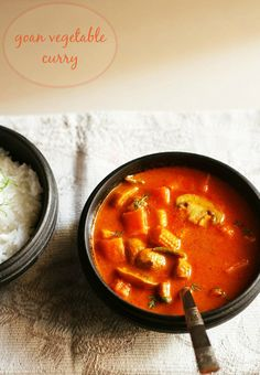 goan vegetable curry - lightly spiced vegetable curry with flavors of coconut and spices, from the land of goa. step by step recipe.