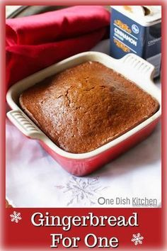 Gingerbread Recipe – So easy to make and perfect for the holidays. A small batch of sweet, perfectly spiced old fashioned gingerbread. This gingerbread is baked in a small baking dish and when sliced into squares will yield about 4 pieces of gingerbread. Mini Desserts, Holiday Desserts, Holiday Baking, Just Desserts, Christmas Recipes, Christmas Holidays, Easy Gingerbread Recipe, Gingerbread Cake, Mug Recipes