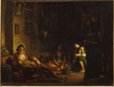 women of algiers in their apartment::eugene delacroix