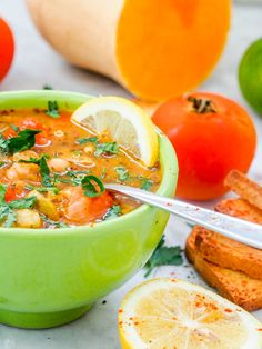 This vegan vegetable soup with cherry tomatoes and chickpeas is the ultimate healthy, hearty and feel good meal. Perfect if you have a cold or are feeling under the weather. Packed full of vitamins and nutrients. A perfect one pot weeknight meatless dinner. Gluten Free too.   avocadopesto.com