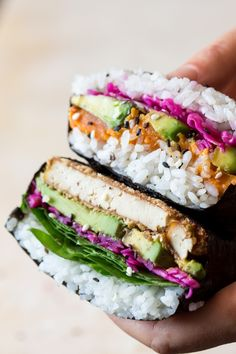 Onigirazu (sushi sandwich) - Lazy Cat Kitchen