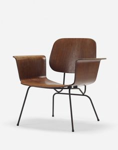Saburo Inui; Rosewood Plywood and Enameled Steel Prototype 'Ply' Armchair for Tendo Mokko, c1960.