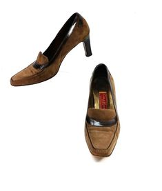 d75975e14da Cole Haan Womens Size 6.5B Brown Suede Slip On Heel Shoes  ColeHaan  Heels