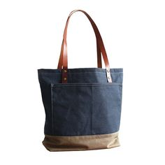d7c59eea4064 Handmade Large Canvas Tote Bag with Leather Handles Shopper