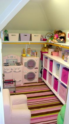 Pink Butterflies, Still working on finishing touches in room but would love some feedback on what weve done so far. Playroom in closet under stairs Under Stairs Playroom, Small Playroom, Playroom Ideas, Playroom Closet, Children Playroom, Attic Closet, Kids Rooms, Ideas Armario, Deco Kids