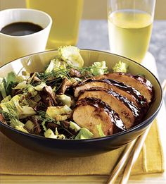 Lacquered Chicken with Roasted Leeks, Fennel and Shiitake Salad