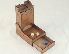 Ruined Castle Dice Tower with drawer for dice storage - Luana Board Games For Two, Classic Board Games, Vintage Board Games, Wood Crafts, Fun Crafts, Educational Board Games, Dice Tower, Dungeons And Dragons Dice, Card Storage